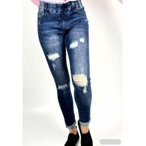 Jeansy z dziurami -gumka w pasie, jeansy