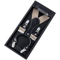 Eleganckie męskie szelki w pudełku beżowe