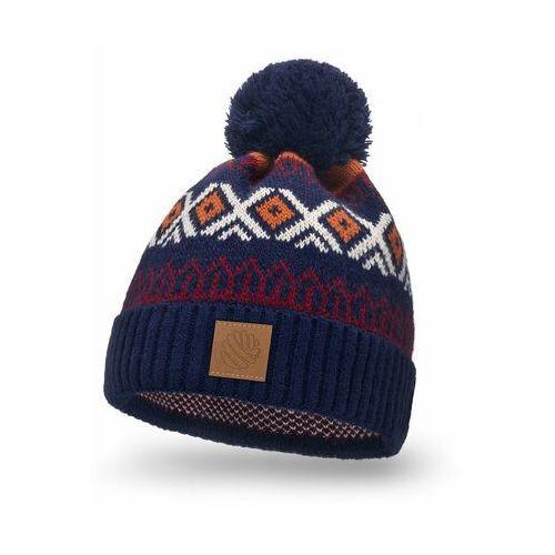 Ciepła czapka zimowa w norweskie wzory - granatowy marki Pamami