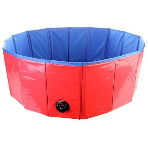 Basen dla psa, składany, średnica 80 cm, wysokość 30 cm, zawór, niewielkie wymiary po złożeniu, sztywne ścianki, trwały