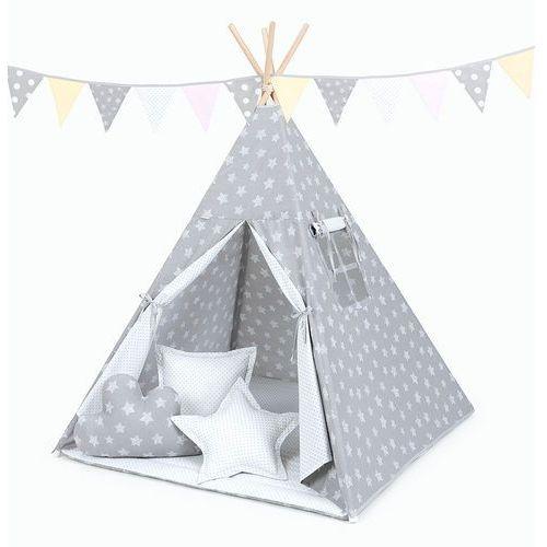 Mamo-tato namiot tipi duży z matą i poduszkami gwiazdy bąbelkowe białe duże / kropki szare