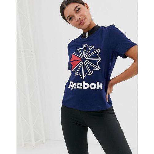 fb545905 Zobacz w sklepie Reebok Classic big logo t-shirt in navy - Navy, kolor szary