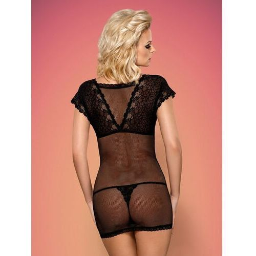 Pełna namiętności koszulka - 821 chemise & thong fishnet black s/m marki Obsessive