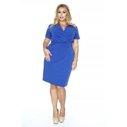 6be78a3431 Niebieska Elegancka Sukienka z Założeniem Kopertowym