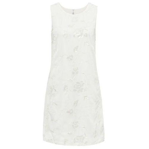 Sukienka z cekinami biel wełny Bonprix