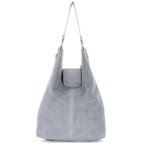d4eedaca38c1b Duża torba skórzana shopper xxl made in italy zamsz naturalny wysokiej  jakości jasno szara (kolory