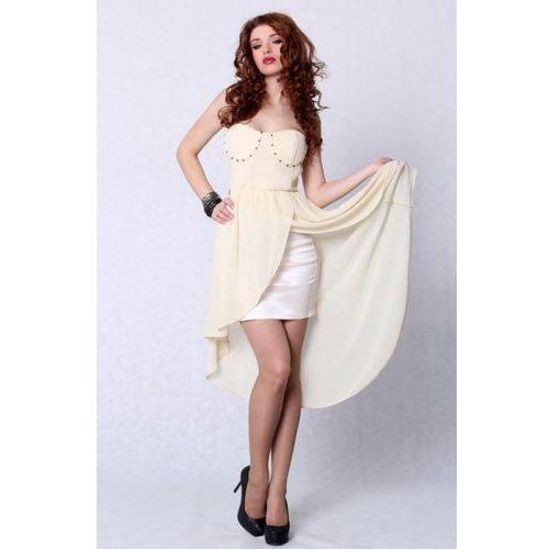 Pink boom 4207-1 sukienka bez ramiączek z usztywnianymi miseczkami z dłuższym tyłem - kremowy