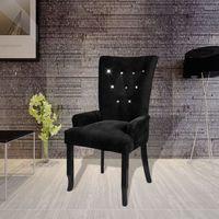 fotel jadalniany, tapicerowany, czarna rama i czarny aksamit marki Vidaxl
