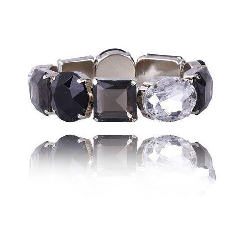 Bransoletka z kryształków w kolorach czarnym, szarym i przezroczystym, kolor czarny