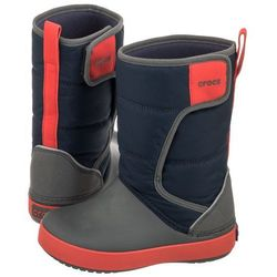 Śniegowce Crocs Lodgepoint Snow Boot K Navy/Slate Grey 204660-4HE (CR129-a), kolor niebieski