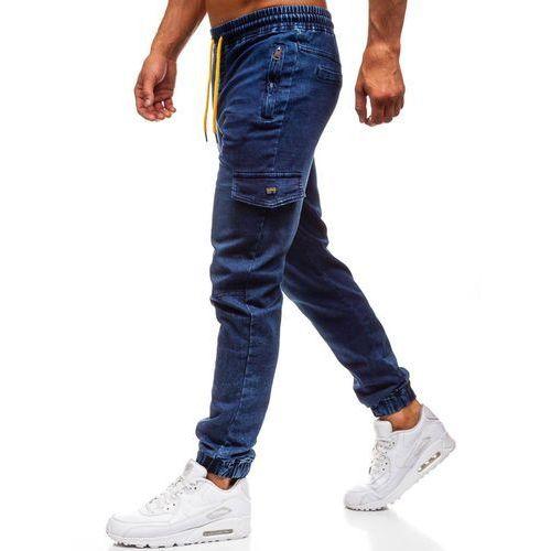 Spodnie jeansowe joggery męskie granatowe Denley Y272A, jeansy