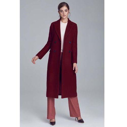 Nife Bordowy elegancki długi płaszcz dwurzędowy