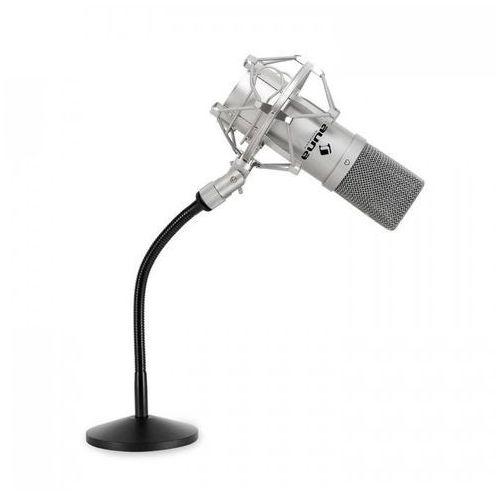 Auna Zestaw mikrofonowy z mikrfonem usb w kolorze srebrnym i statyw do mikrofonu