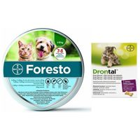 foresto obroża dla kotów i psów poniżej 8kg + drontal - dog flavour 2tabl. (kostki) marki Bayer