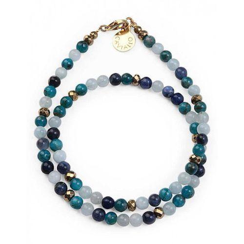 Bransoletka Wrap sodalit, akwamaryn, apatyt, hematyt 4 mm M, kolor niebieski