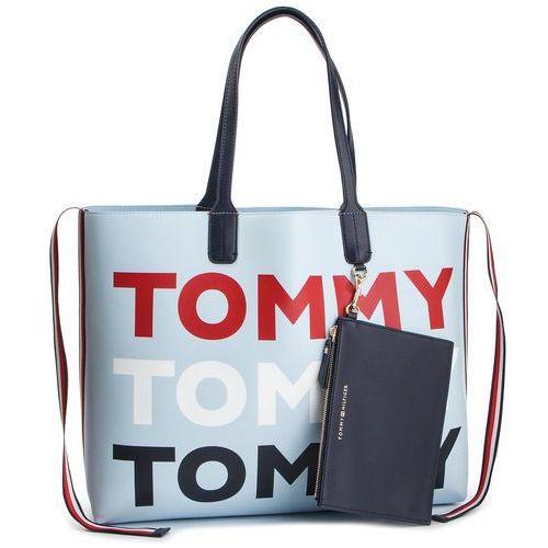 9394531d3fb4b Zobacz w sklepie Torebka TOMMY HILFIGER - Iconic Tommy Tote AW0AW06446 413,  kolor niebieski