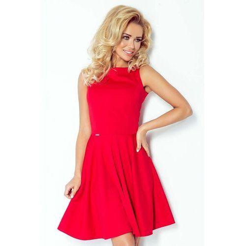 22e4b7a761 Czerwona Sukienka Rozkloszowana z Dekoltem w Łódkę bez Rękawów ...
