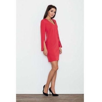 5ebc86bd48 Czerwona Sukienka Koktajlowa Mini z Rozciętym Rękawem