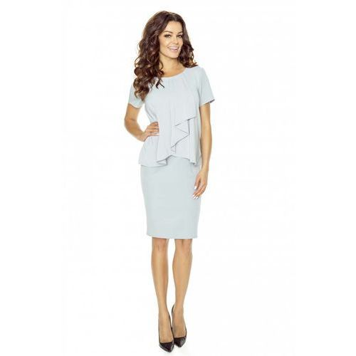 Kartes moda Szara sukienka elegancka warstwowa z żabotem