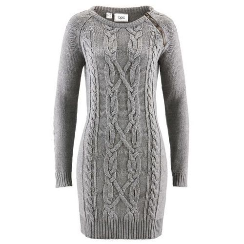 Sukienka dzianinowa szary melanż marki Bonprix