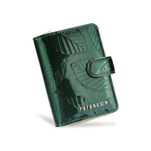 a6abc1985c999 Portfel damski skórzany lakierowany zielone liście 602 - zielone liście  marki Peterson