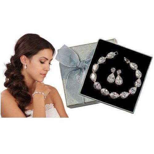 Kpl884 komplet ślubny, biżuteria ślubna z cyrkoniami b599/425 k599/545 marki Mak-biżuteria