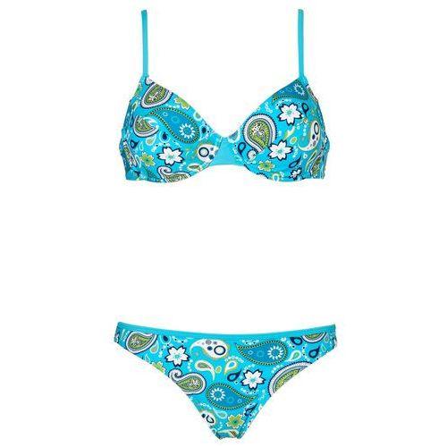 Bonprix Bikini na fiszbinach (2 części) turkusowo-biały