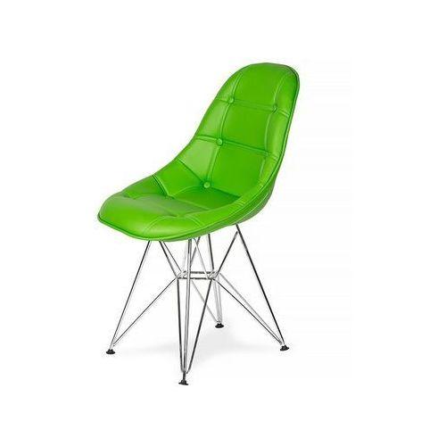 Krzesło EKO SILVER żywa zieleń T8 - ekoskóra, podstawa metalowa chromowana, K-220PU.T8.DSR (7811961)