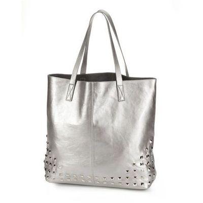 c08872e7e3b6b Bonprix Torba shopper z ćwiekami srebrny kolor bonprix