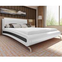 vidaXL Czarne łóżko ze sztucznej skóry z materacem 140 x 200 cm Darmowa wysyłka i zwroty