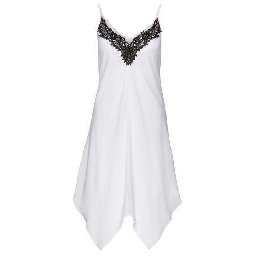 Bonprix Sukienka z koronką biało-czarny