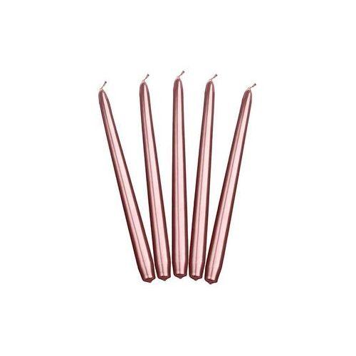 Świeca stożkowa metaliczna różowe złoto - 24 cm - 10 szt.
