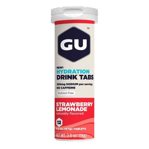 GU Energy Brew Hydration sports drink Strawberry Lemonade 12 Tablets red/white Drinki izotoniczne
