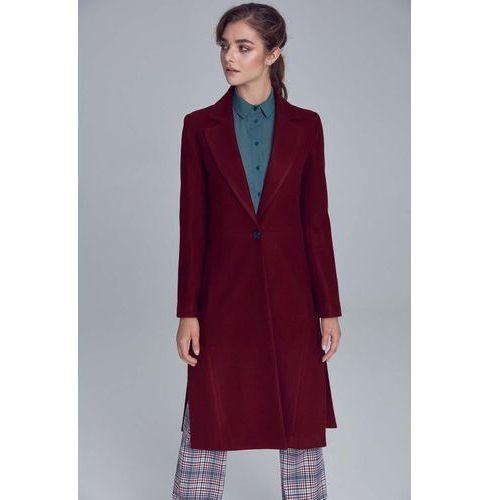 Bordowy długi klasyczny płaszcz z rozcięciami po bokach, kolor czerwony