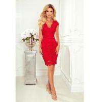Czerwona koronkowa sukienka z kobiecym dekoltem v