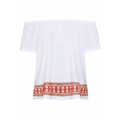 Bonprix Shirt z koronką i haftem różowy