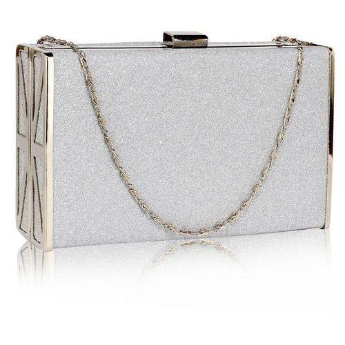 5bbb78e87226b Srebrna brokatowa torebka wizytowa szkatułka - srebrny marki Wielka brytania
