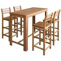 vidaXL Stolik barowy i krzesła, 5 elementów drewno akacjowe