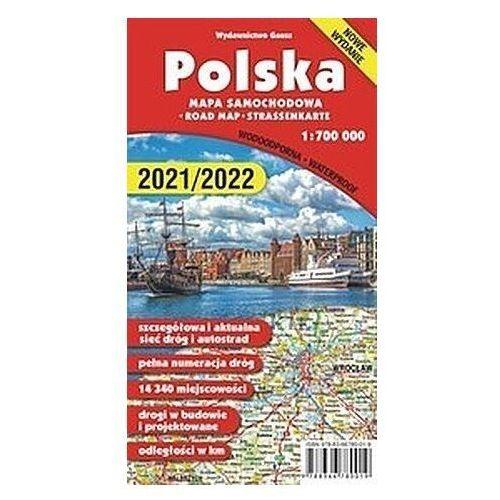 """Mapa,,polska 1:700 000"""" - foliowana (wyd.2020) - praca zbiorowa (2021)"""