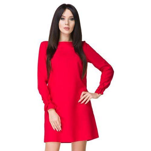 34ccec4e1824dd Elegancka prosta sukienka mini z wiązaniem na rękawach czerwona t194,  Tessita - Galeria produktu