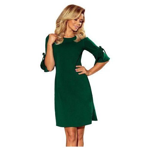 2e6880876d Zielona Trapezowa Sukienka z Rozkloszowanym Rękawem do Łokcia ...