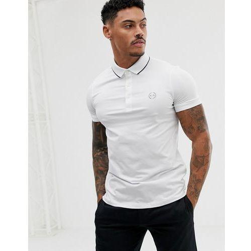 Armani Exchange slim fit tipped logo polo in white - White