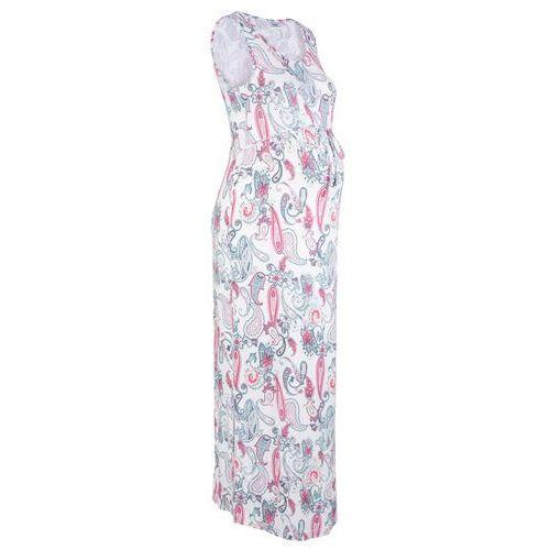 Długa sukienka ciążowa, shirtowa beżowy w deseń paisley, Bonprix, 52-54