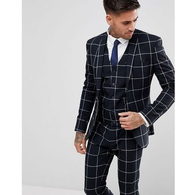 a11ae8c7f7576 Asos super skinny suit jacket in navy with white windowpane check - navy, Asos  design ASOS