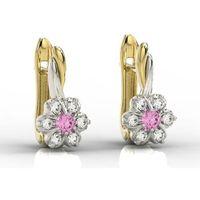 Kolczyki z żółtego i białego złota z cyrkoniami różowymi i białymi APK-68ZB-C - Cyrkonia ||Cyrkonia Swarovski Pink, kolor różowy