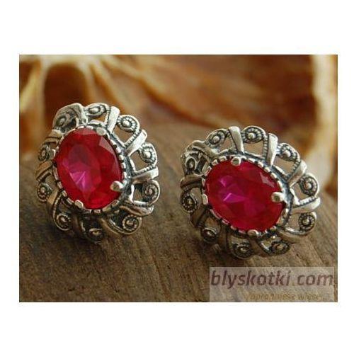 BERNAT - srebrne kolczyki z rubinem, kolor czerwony