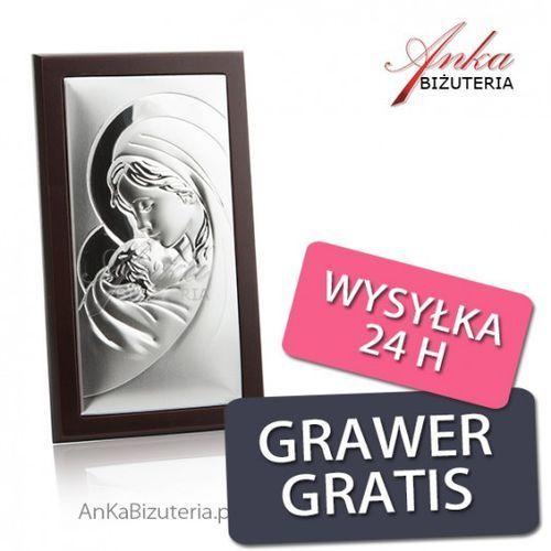 Ankabizuteria.pl obrazek srebrny matka boska z dzieciątkiem 8 cm* 13,5 cm marki Valenti & co