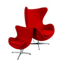 Czerwony fotel dziecięcy wełna naturalna inspirowany projektem egg chair marki Design town