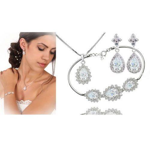 Kpl886 komplet ślubny, biżuteria ślubna z cyrkoniami b599/812 k599/565 n599/814 marki Mak-biżuteria