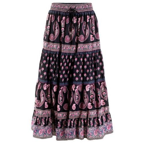 Długa spódnica czarny z nadrukiem marki Bonprix